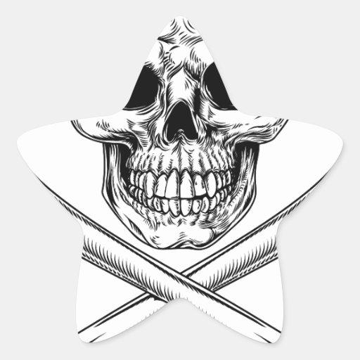 Cráneo alegre y bandera pirata de Rogelio Pegatina En Forma De Estrella
