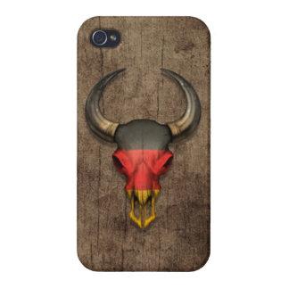 Cráneo alemán de Bull de la bandera en el efecto d iPhone 4 Coberturas