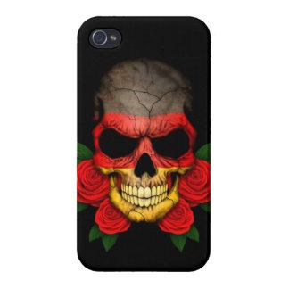 Cráneo alemán de la bandera con los rosas rojos iPhone 4/4S carcasas