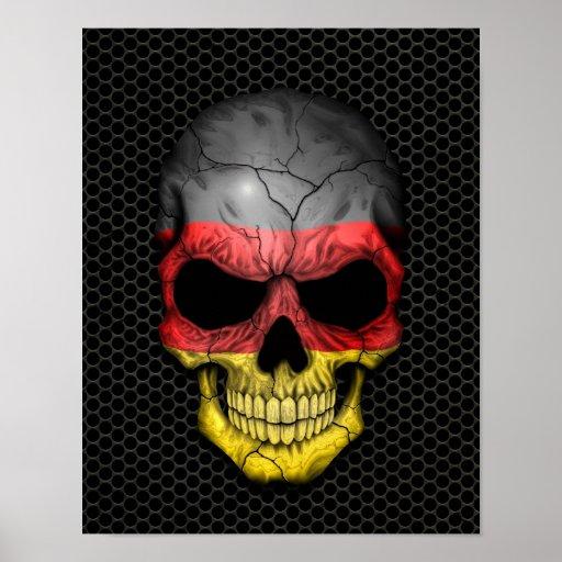 Cráneo alemán de la bandera en el gráfico de acero impresiones