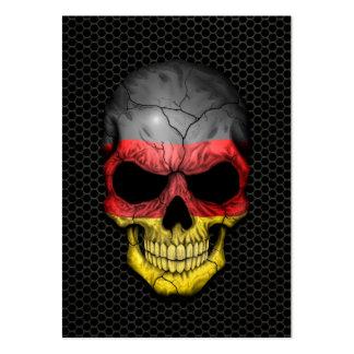 Cráneo alemán de la bandera en el gráfico de acero tarjetas de negocios