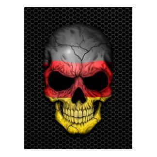 Cráneo alemán de la bandera en el gráfico de acero postales