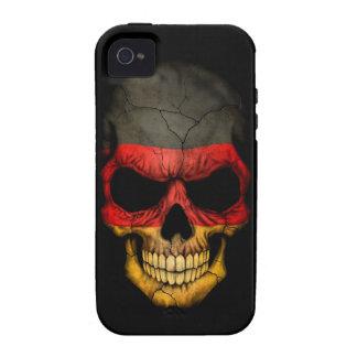 Cráneo alemán de la bandera en negro vibe iPhone 4 carcasa