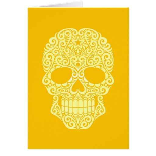 Cráneo amarillo del azúcar que remolina tarjeta de felicitación