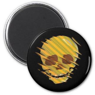 Cráneo amarillo imán redondo 5 cm