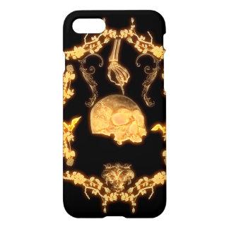 Cráneo amarillo impresionante con las flores funda para iPhone 7