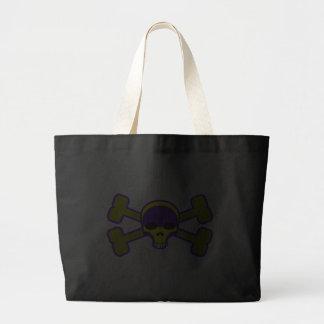 cráneo amarillo y bandera pirata bolsa tela grande