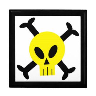 Cráneo amarillo y bandera pirata Giftbox Cajas De Regalo