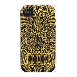 Cráneo amarillo y negro decorativo del azúcar Case-Mate iPhone 4 carcasa