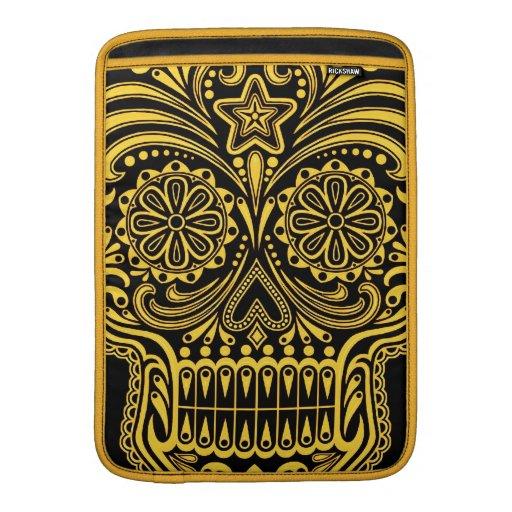 Cráneo amarillo y negro decorativo del azúcar funda para macbook air