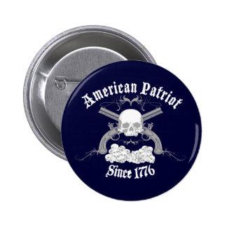 Cráneo americano 1776 del patriota pin redondo de 2 pulgadas