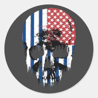 Cráneo americano inverso pegatina redonda