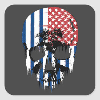Cráneo americano inverso colcomanias cuadradas