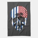 Cráneo americano inverso toalla de mano