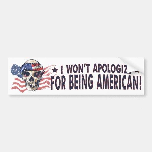 Cráneo americano patriótico pegatina de parachoque