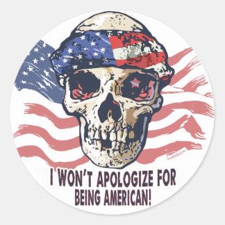 Cráneo americano patriótico pegatina redonda