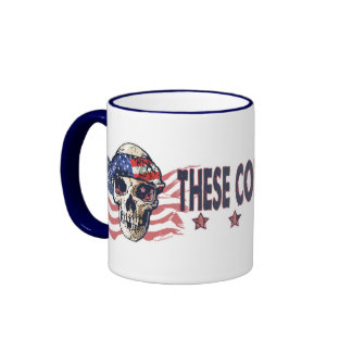 Cráneo americano patriótico taza de dos colores