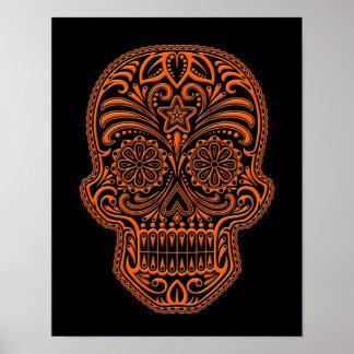 Cráneo anaranjado complejo del azúcar en negro impresiones