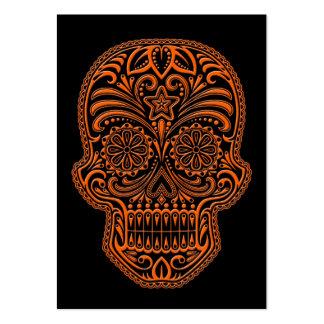Cráneo anaranjado complejo del azúcar en negro tarjetas de visita grandes