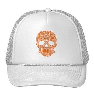 Cráneo anaranjado del azúcar que remolina gorras