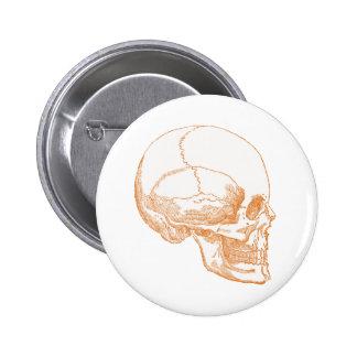 cráneo anaranjado pin redondo de 2 pulgadas