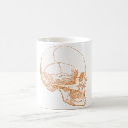 cráneo anaranjado taza clásica