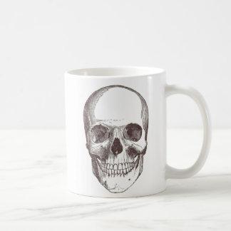 Cráneo anatómico negro blanco taza