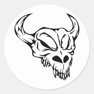 Cráneo animal etiqueta redonda