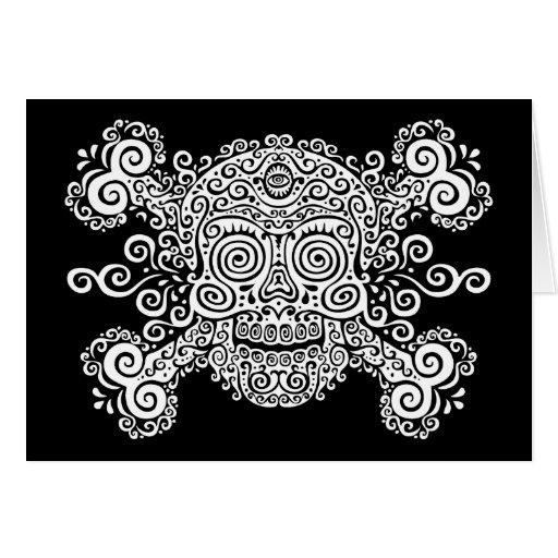 Cráneo antiguo del azúcar tarjeta