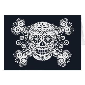 Cráneo antiguo y bandera pirata del azúcar tarjeta de felicitación