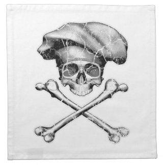 Cráneo apenado del cocinero servilletas de papel
