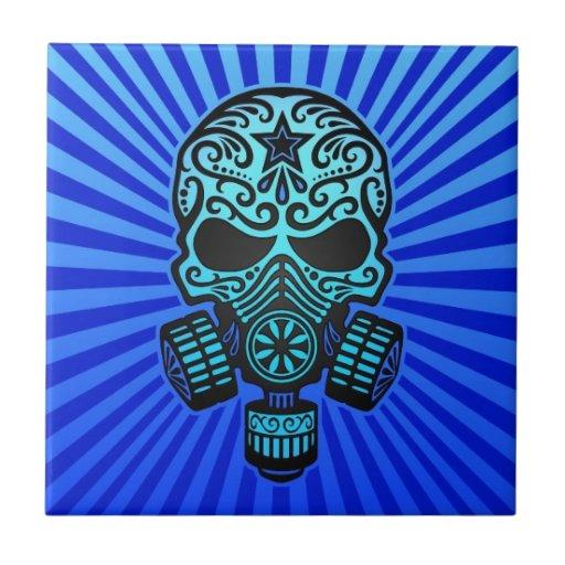 Cráneo apocalíptico del azúcar del poste, azul azulejos