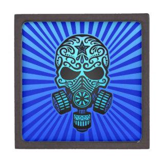 Cráneo apocalíptico del azúcar del poste azul caja de regalo de calidad