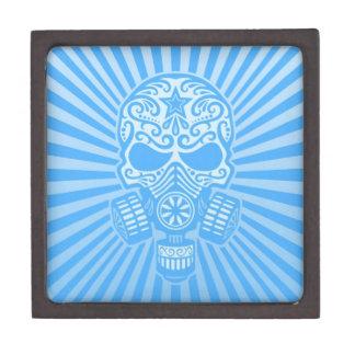 Cráneo apocalíptico del azúcar del poste azul cla caja de joyas de calidad