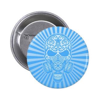 Cráneo apocalíptico del azúcar del poste, azul cla pins