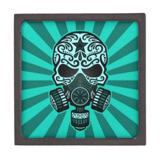 Cráneo apocalíptico del azúcar del poste azul del caja de recuerdo de calidad