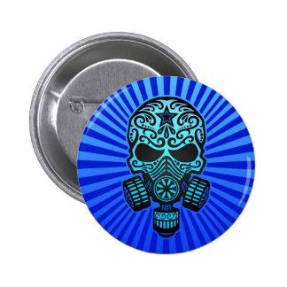 Cráneo apocalíptico del azúcar del poste, azul pin