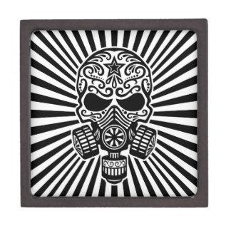 Cráneo apocalíptico del azúcar del poste blanco y cajas de regalo de calidad