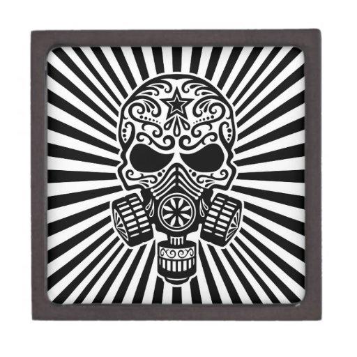 Cráneo apocalíptico del azúcar del poste, blanco y cajas de regalo de calidad