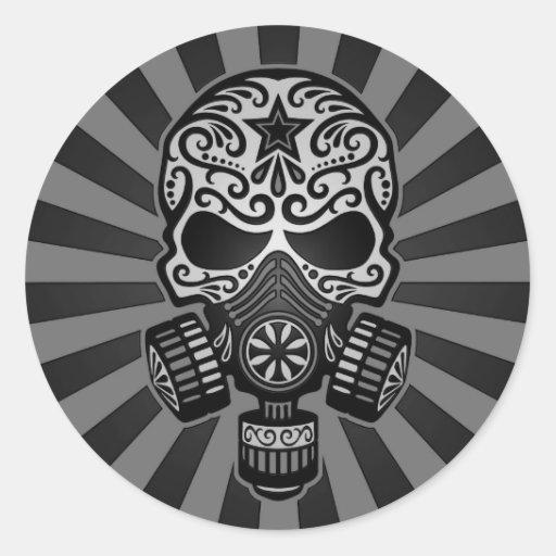 Cráneo apocalíptico del azúcar del poste negro y g etiquetas