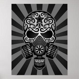Cráneo apocalíptico del azúcar del poste negro y g póster