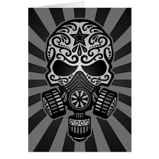 Cráneo apocalíptico del azúcar del poste negro y g tarjeta de felicitación