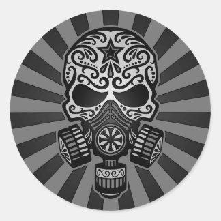 Cráneo apocalíptico del azúcar del poste negro y pegatina redonda