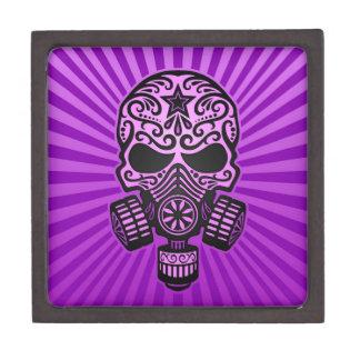 Cráneo apocalíptico del azúcar del poste púrpura caja de joyas de calidad