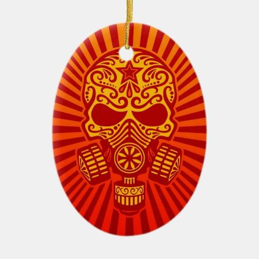 Cráneo apocalíptico del azúcar del poste, rojo adorno de reyes