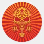 Cráneo apocalíptico del azúcar del poste, rojo pegatinas redondas
