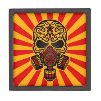 Cráneo apocalíptico del azúcar del poste rojo y am caja de recuerdo de calidad