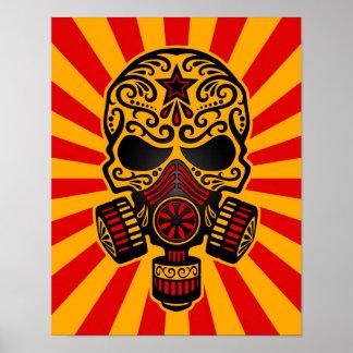 Cráneo apocalíptico del azúcar del poste rojo y am póster