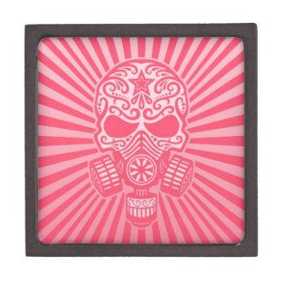 Cráneo apocalíptico del azúcar del poste rosado caja de joyas de calidad