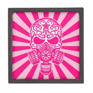 Cráneo apocalíptico del azúcar del poste rosado caja de regalo de calidad